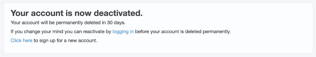 Twitter delete account screen