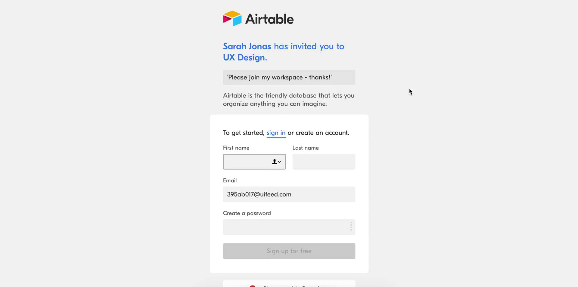 The sign up page for someone invited to Airtable