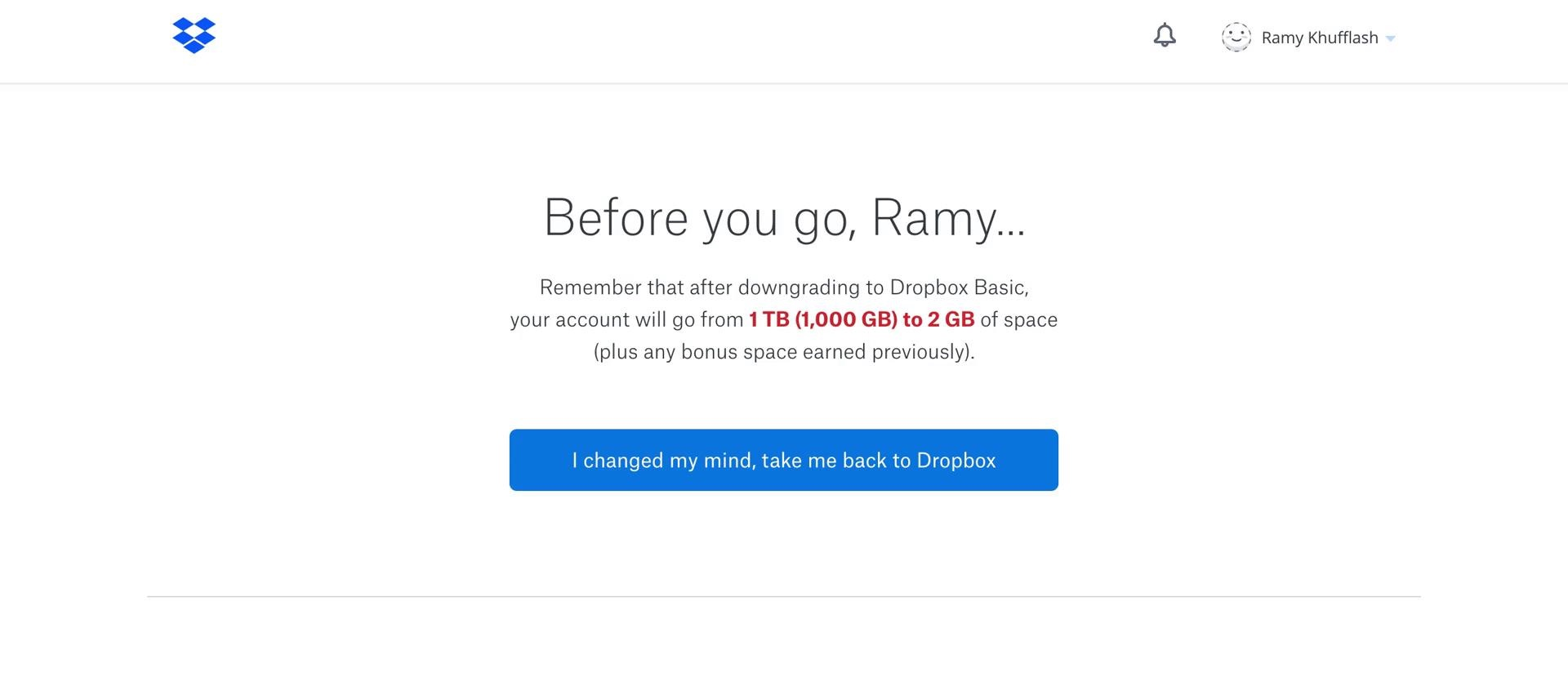 Dropbox downgrade account step 1