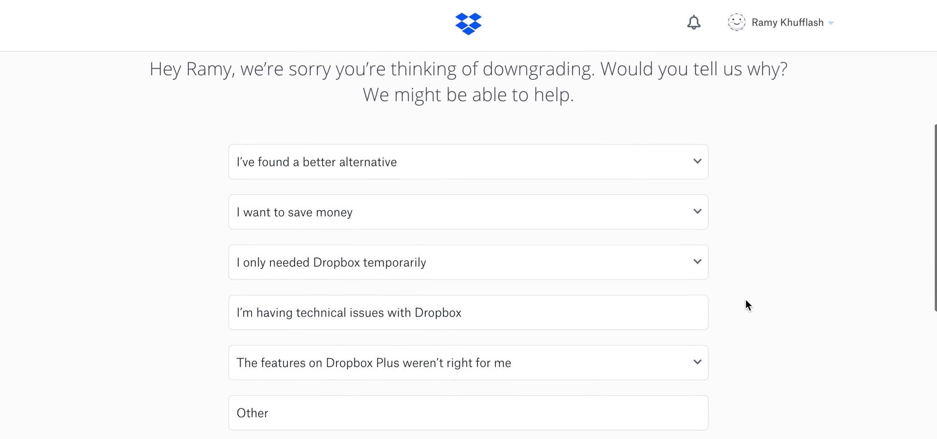 Dropbox downgrade account step 3