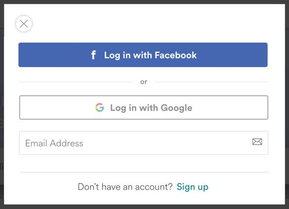 Facebook auth more prominent, other options with a lower opacity