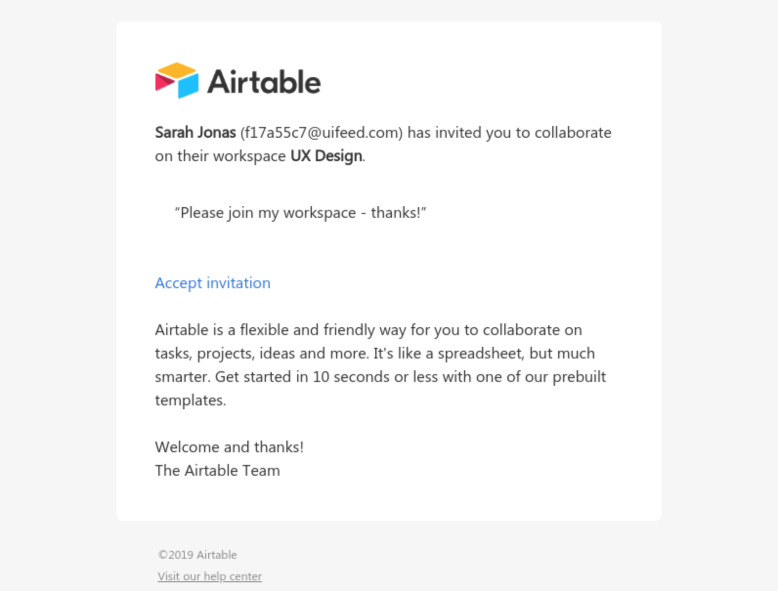 Airtable invite email
