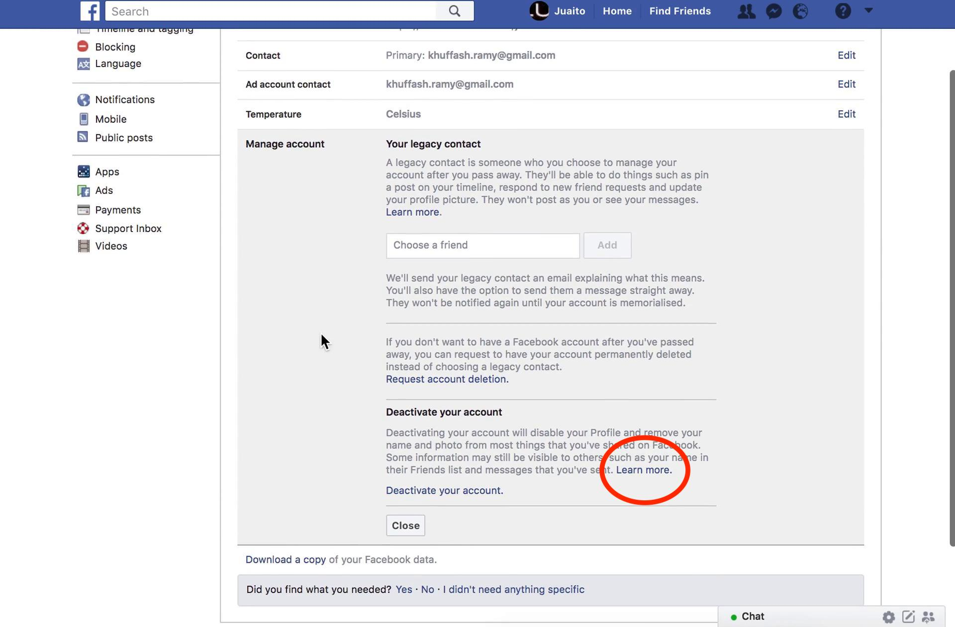 Facebook's Manage account page in the settings