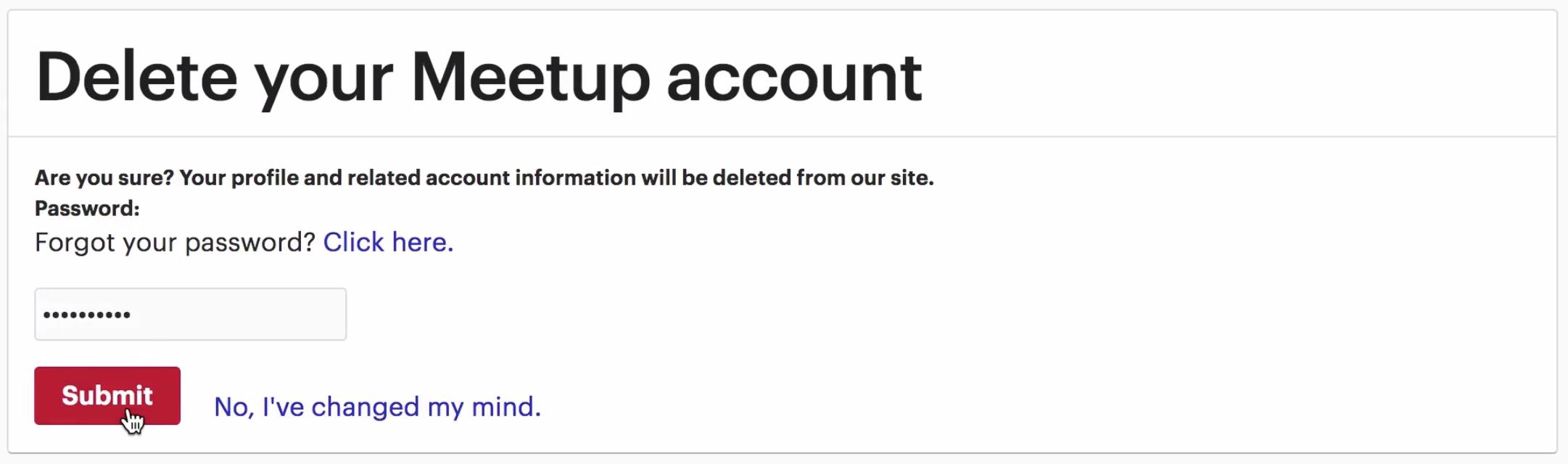 Meetup delete account screen