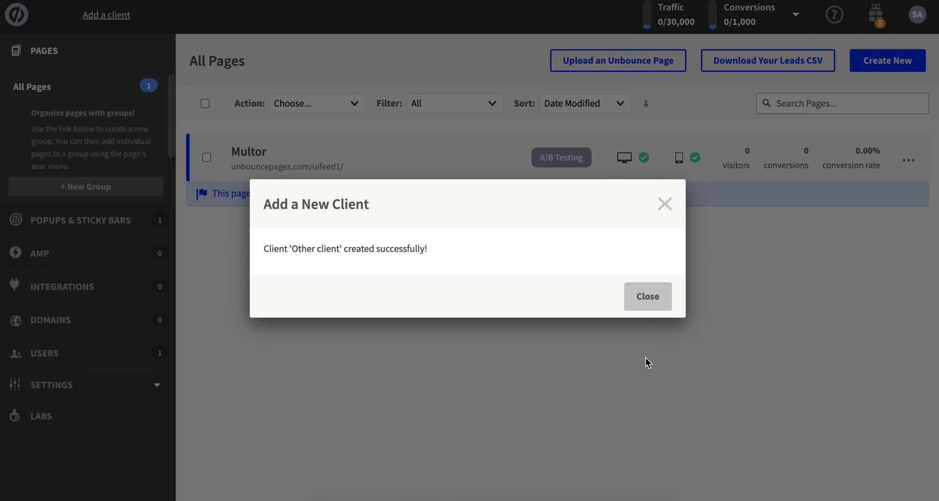 Screenshot of Client added during General browsing on Unbounce user flow