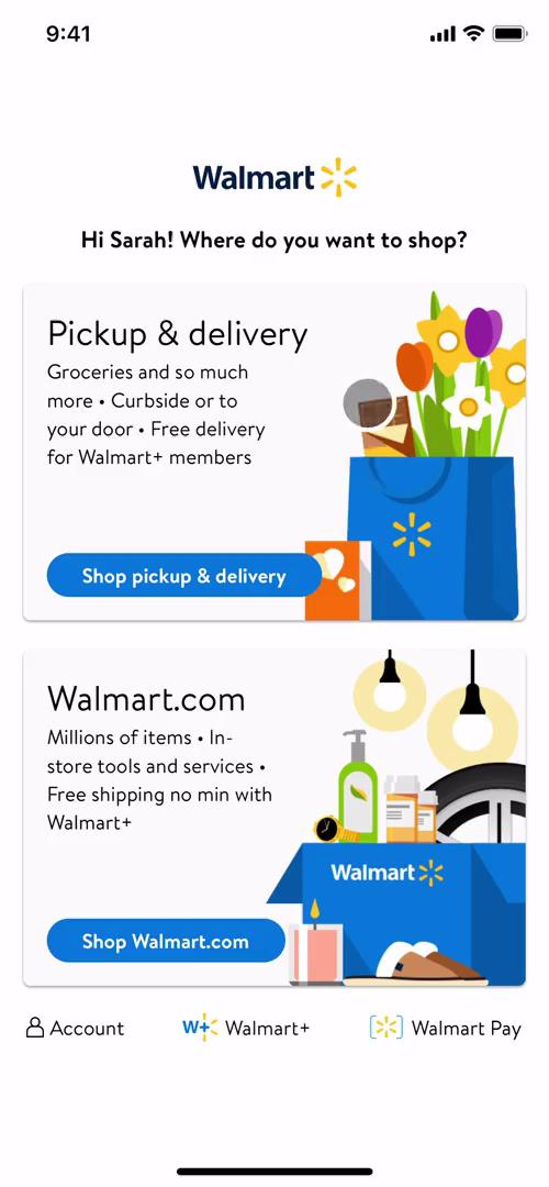 Screenshot of Select shop type on Cancelling your subscription on Walmart user flow