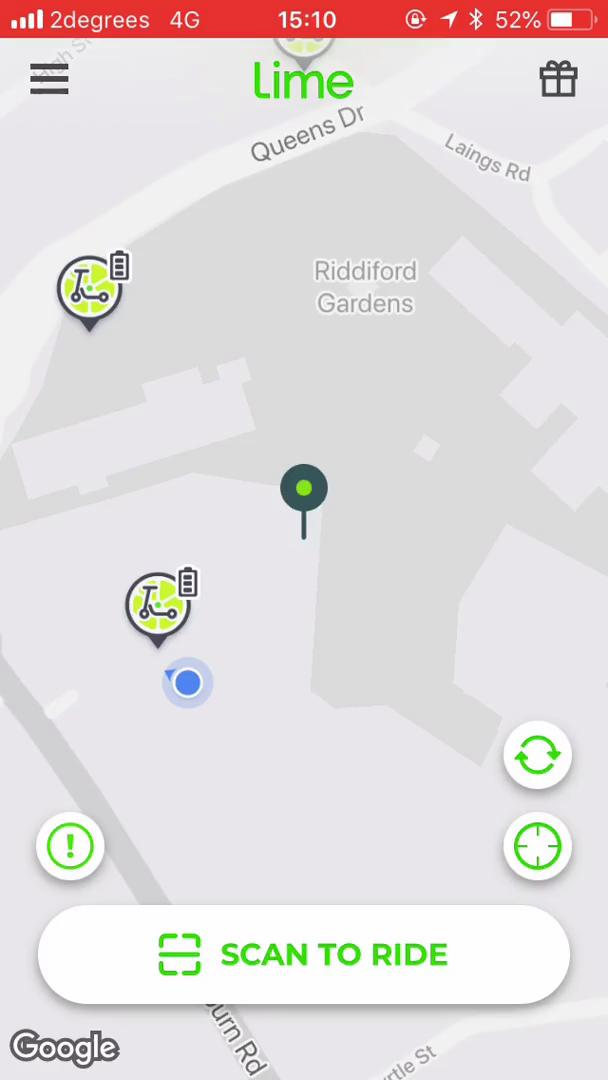 Screenshot of Map during Booking transport on Lime user flow