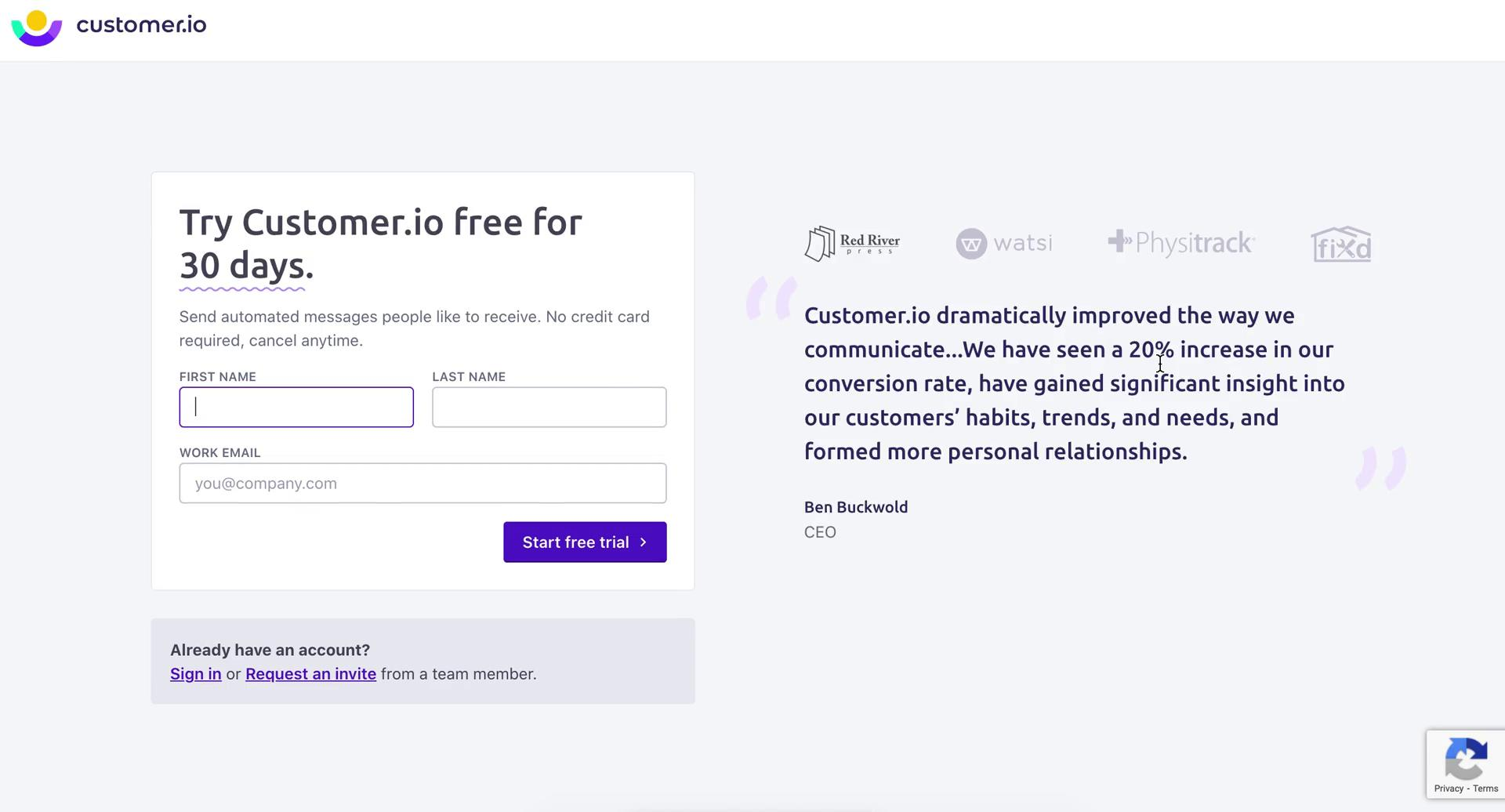 Screenshot of Sign up during Onboarding on Customer.io user flow
