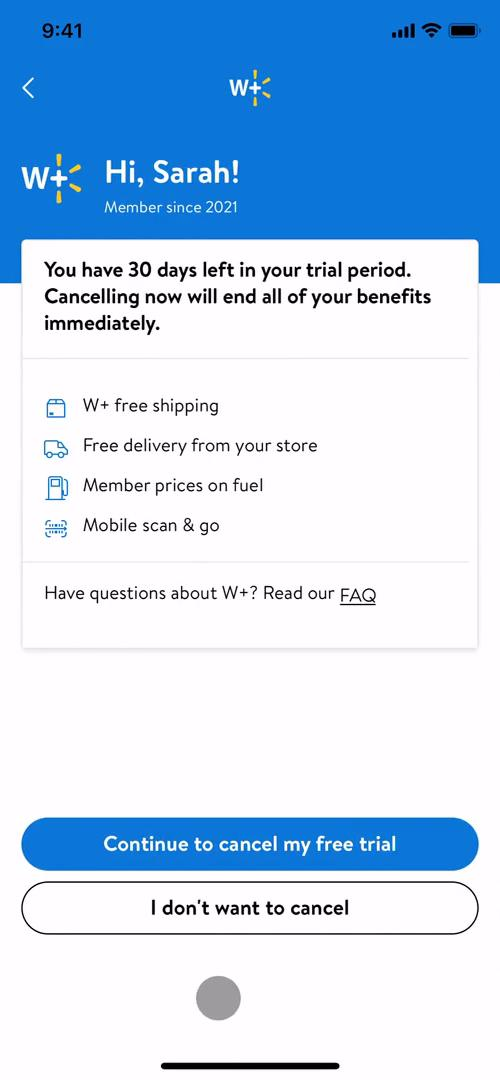 Screenshot of Confirm cancellation on Cancelling your subscription on Walmart user flow