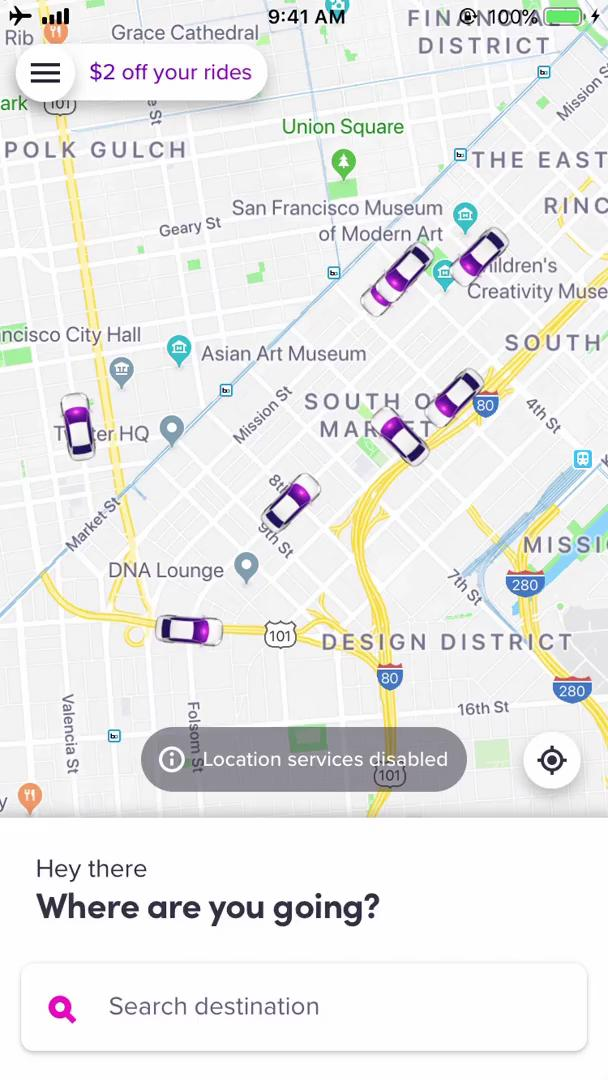 Screenshot of Set location during Booking transport on Lyft user flow