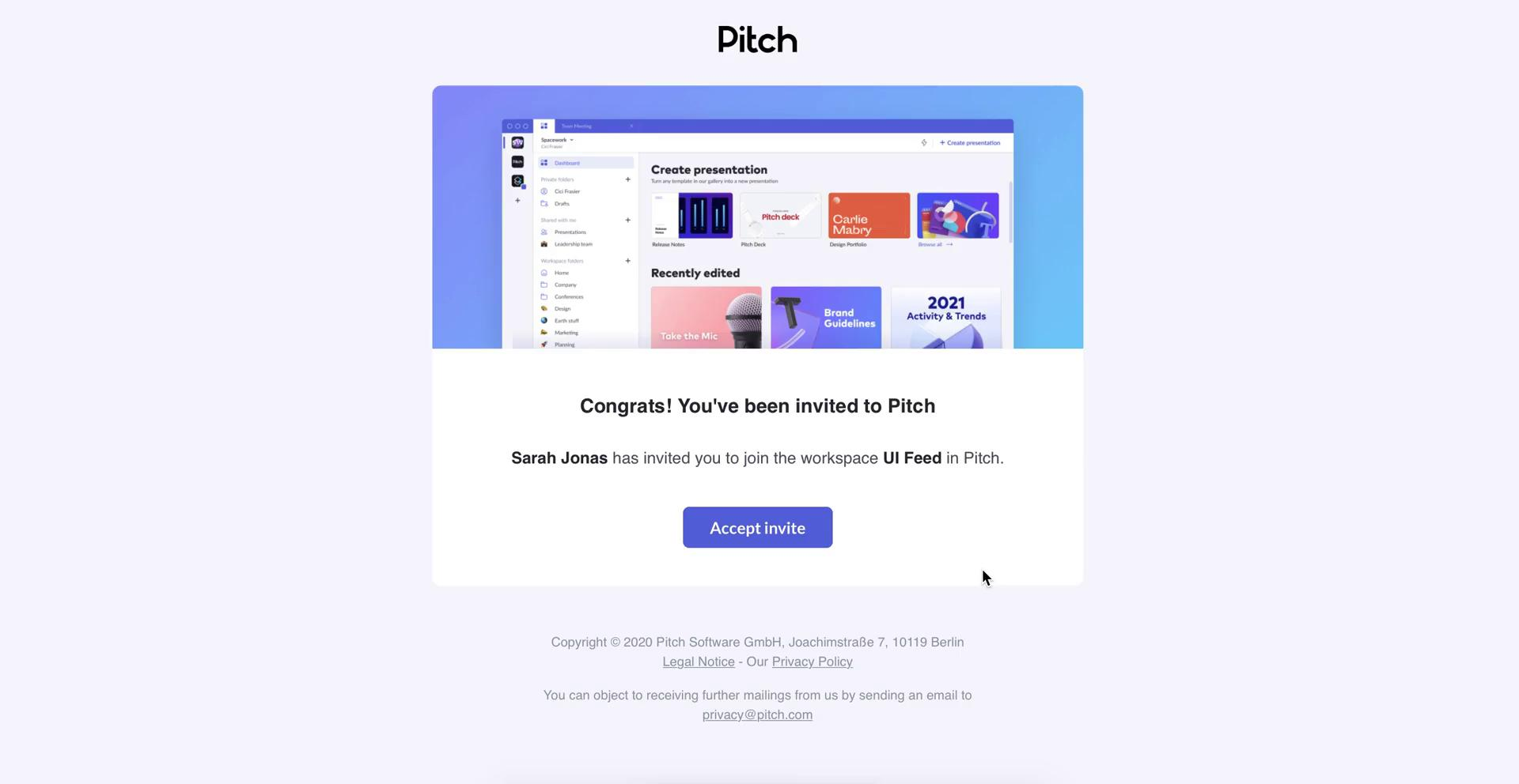 Screenshot of Invite email during Accepting an invite on Pitch user flow