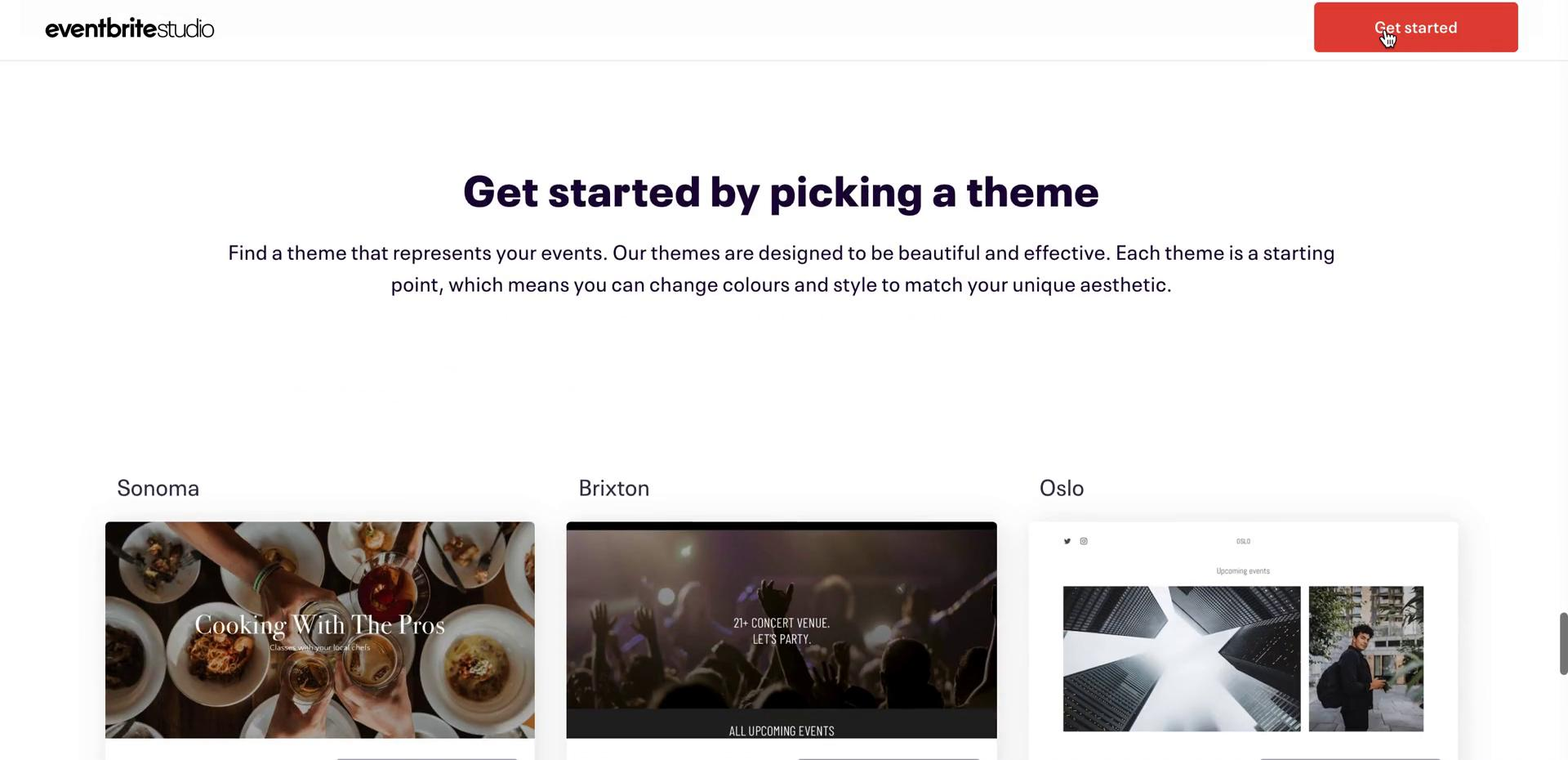 Screenshot of Select theme during Creating a website on Eventbrite user flow