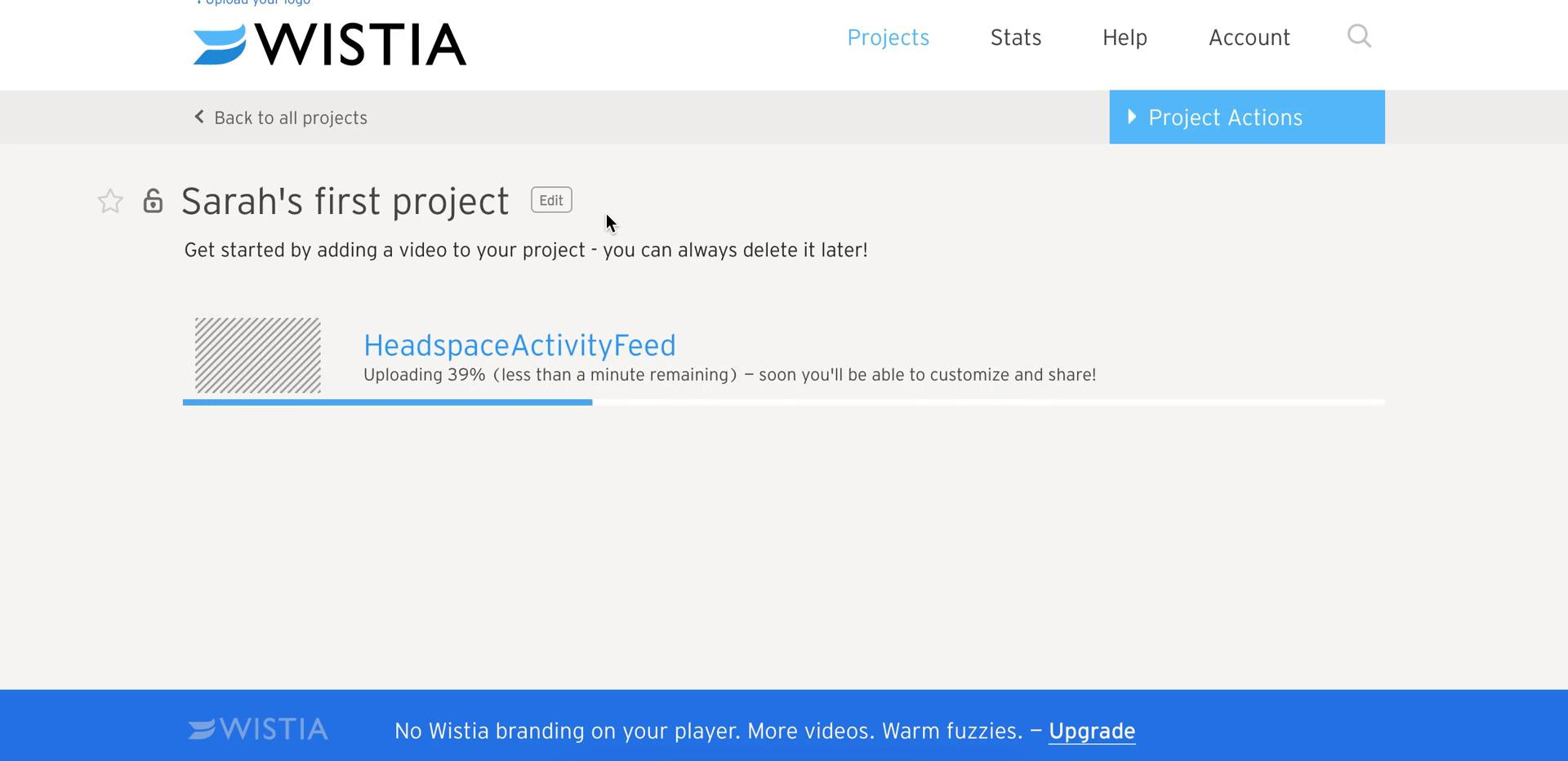 Screenshot of Create project during Uploading media on Wistia user flow