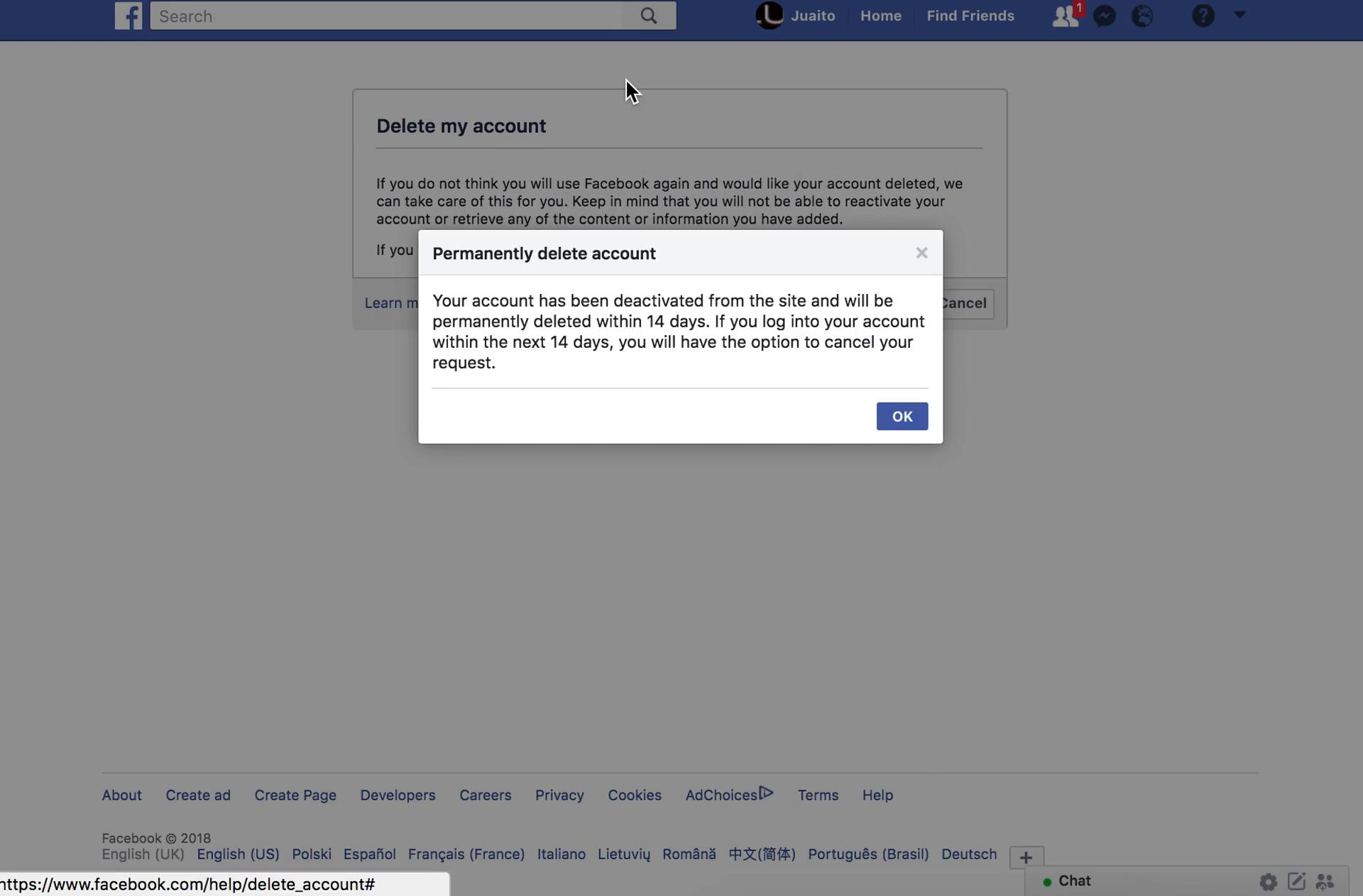 Facebook's account successfully deleted message