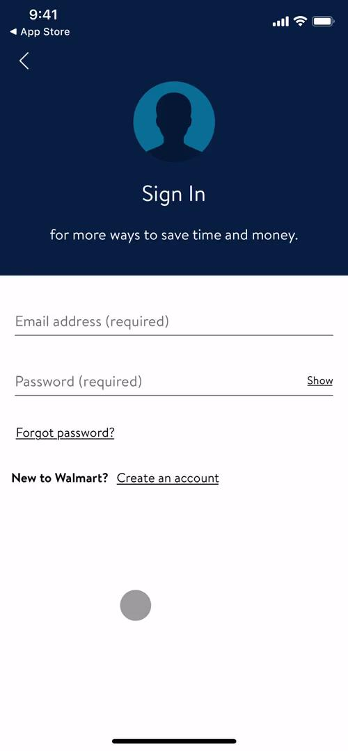 Screenshot of Sign in on Onboarding on Walmart user flow