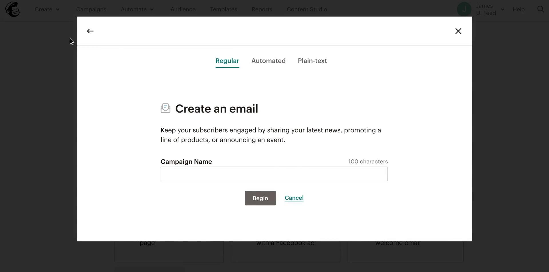 Screenshot of Create email campaign during General browsing on Mailchimp user flow