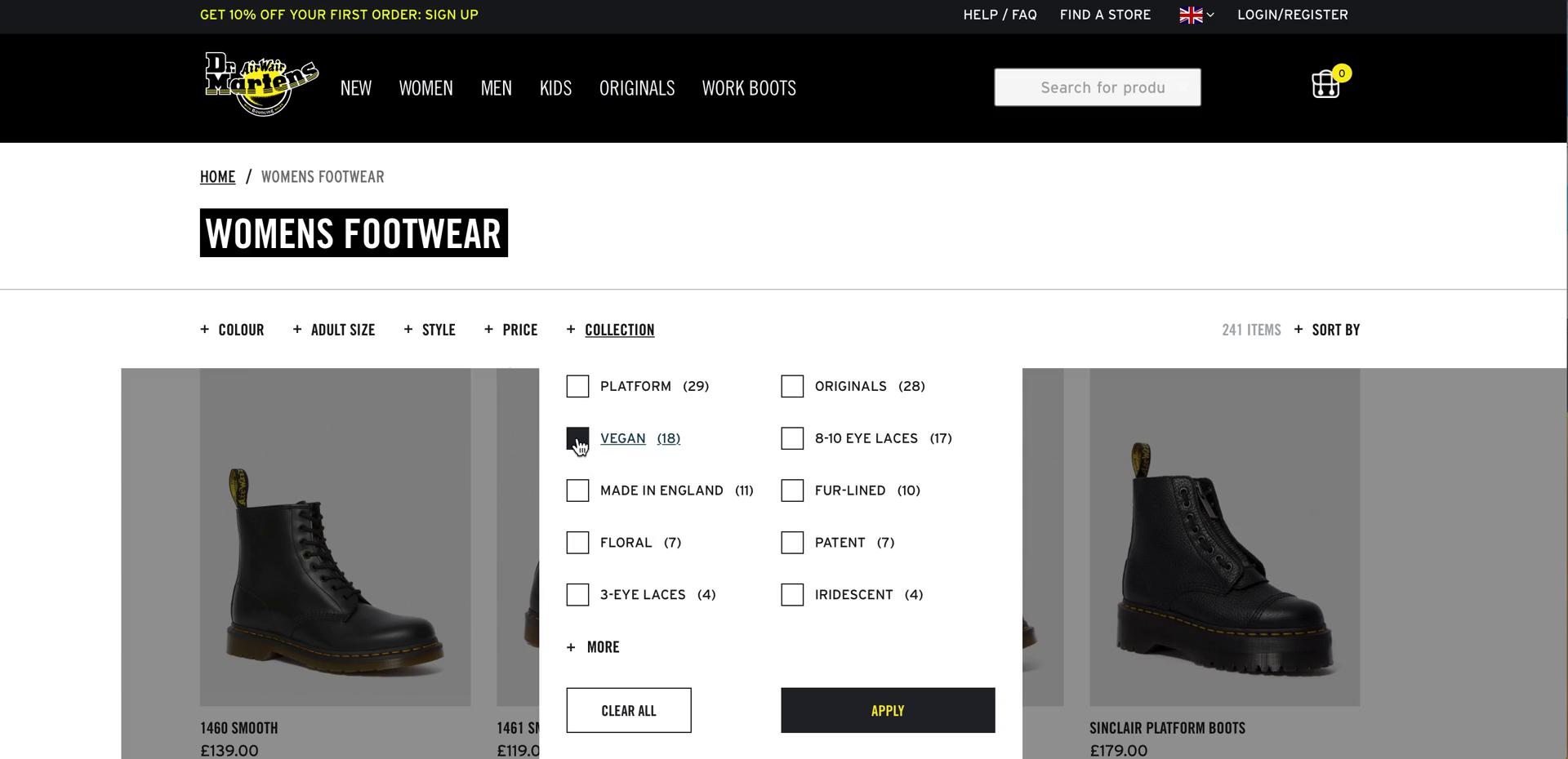 Screenshot of Filter during Buying something on Dr Martens user flow