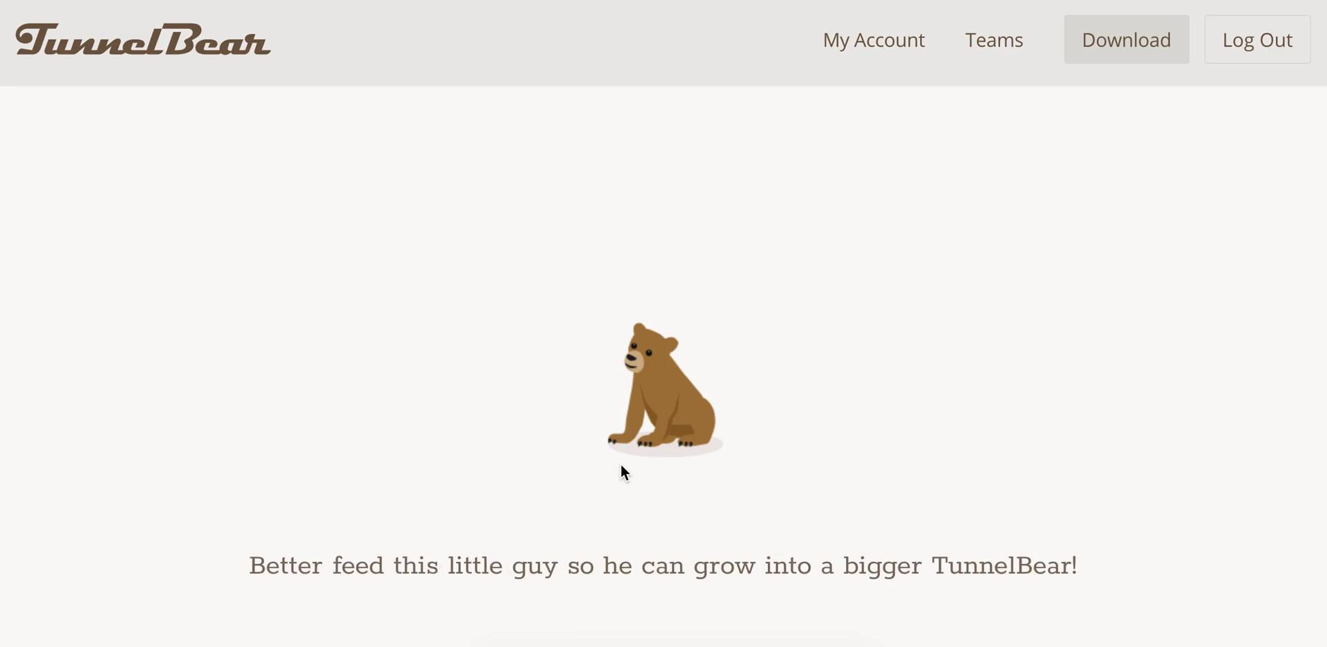 Screenshot of during Upgrading your account on TunnelBear user flow