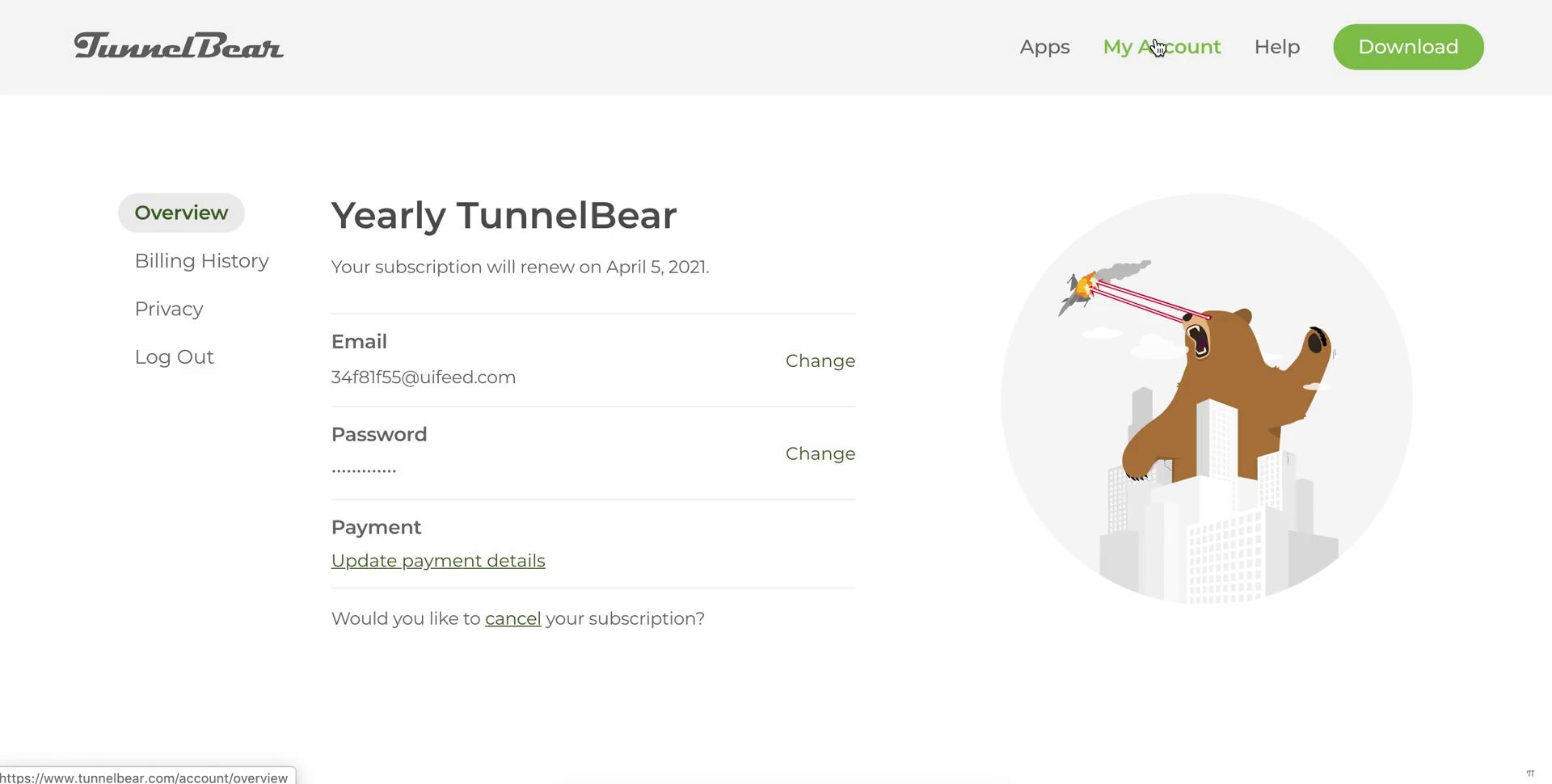 Screenshot of Account settings during Cancelling your subscription on TunnelBear user flow