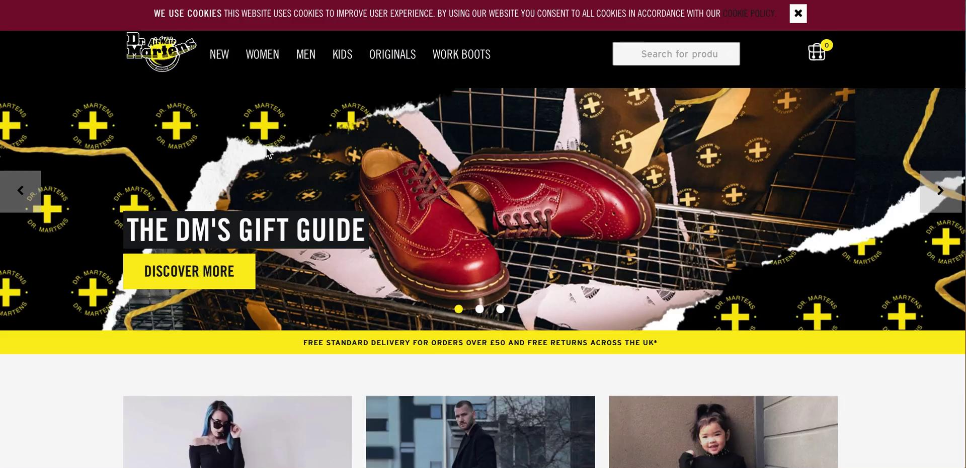 Screenshot of Homepage during Buying something on Dr Martens user flow