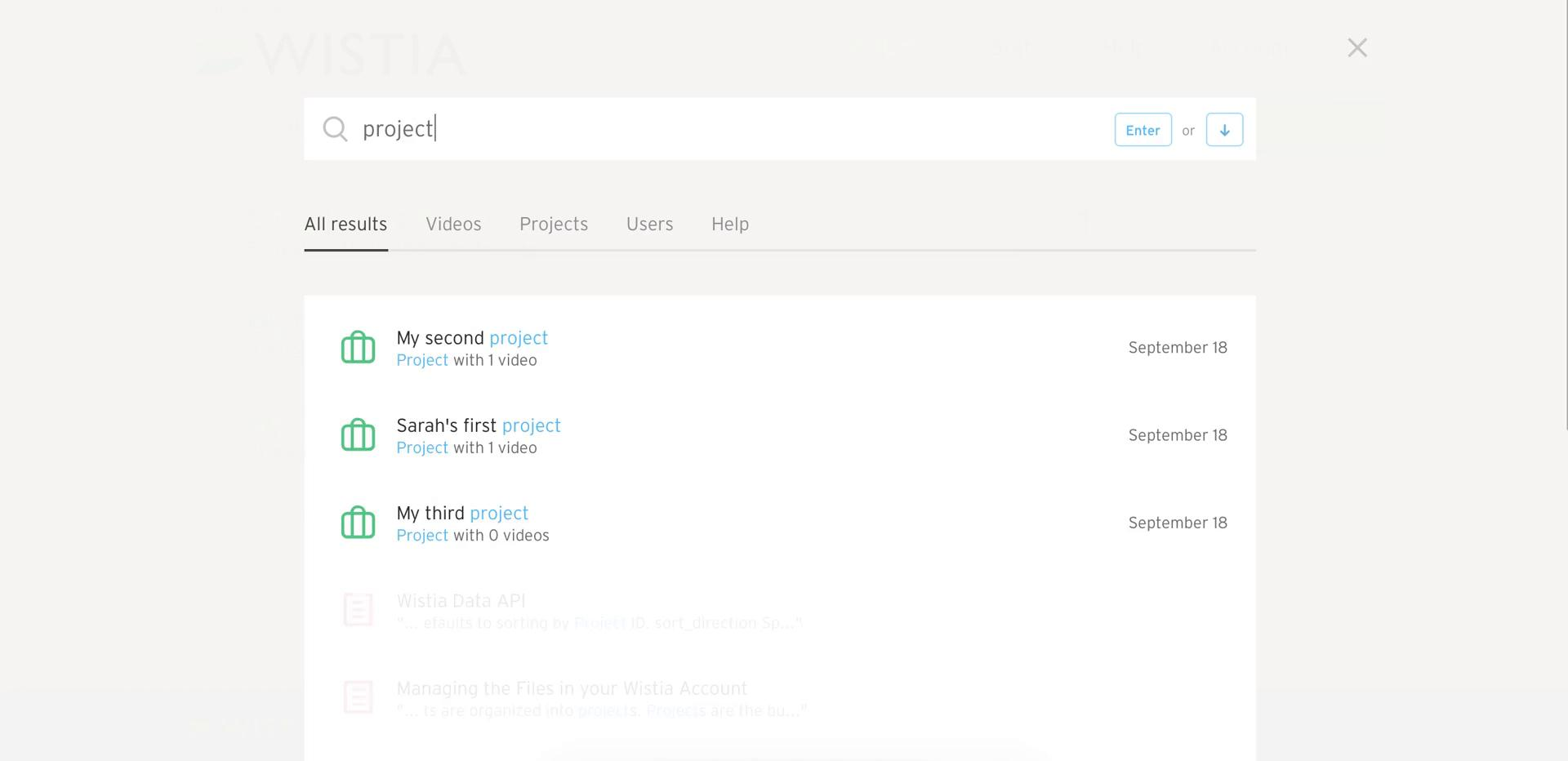 Screenshot of Search results during Searching on Wistia user flow