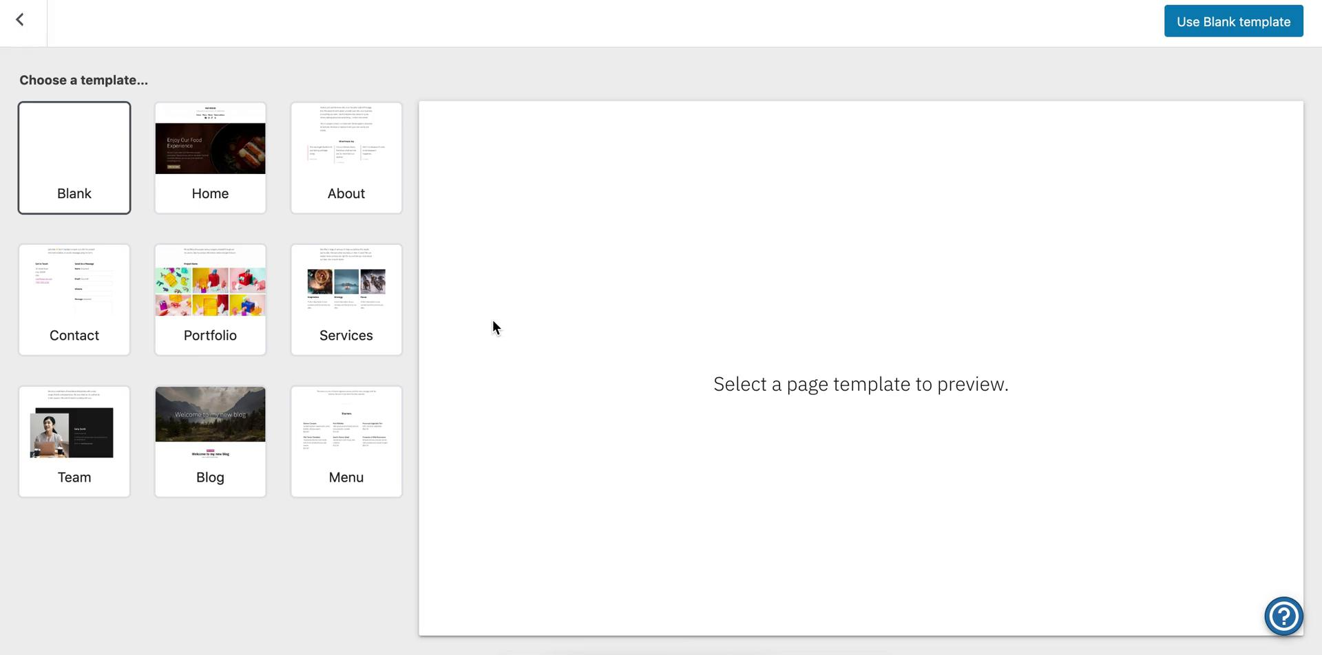 Screenshot of Select template during Creating a page on WordPress user flow
