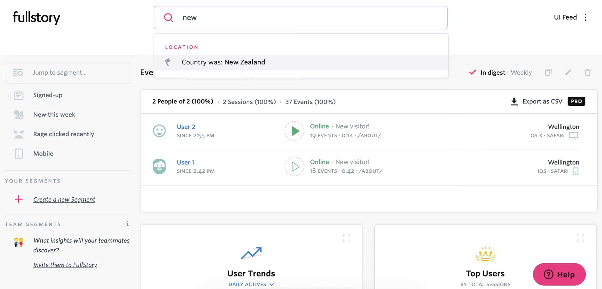 Screenshot of Search results during Segmenting on Fullstory user flow