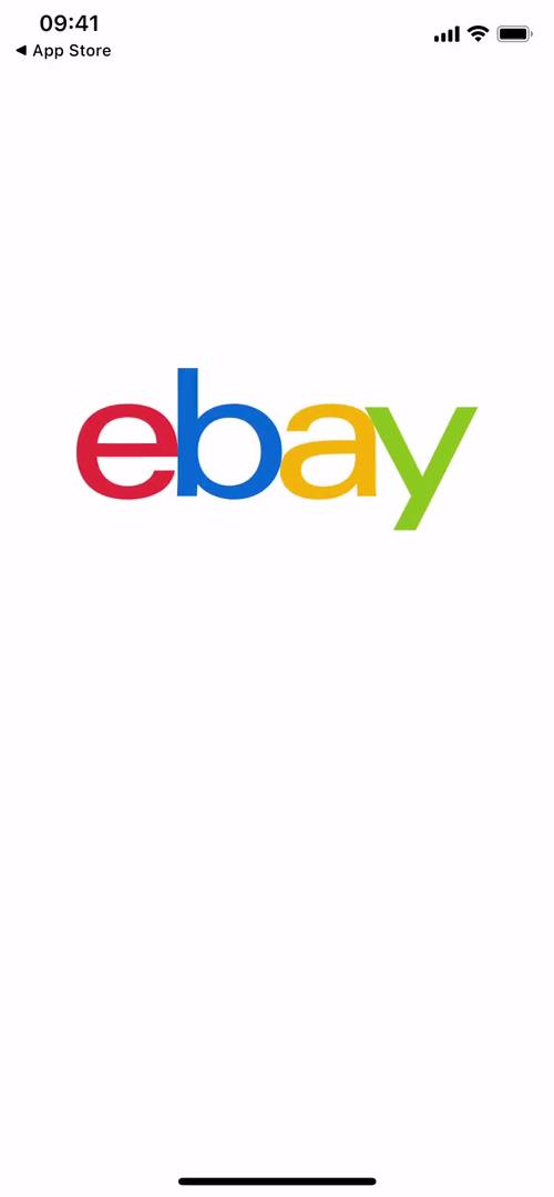 Screenshot of Splash screen during Signing up on eBay user flow