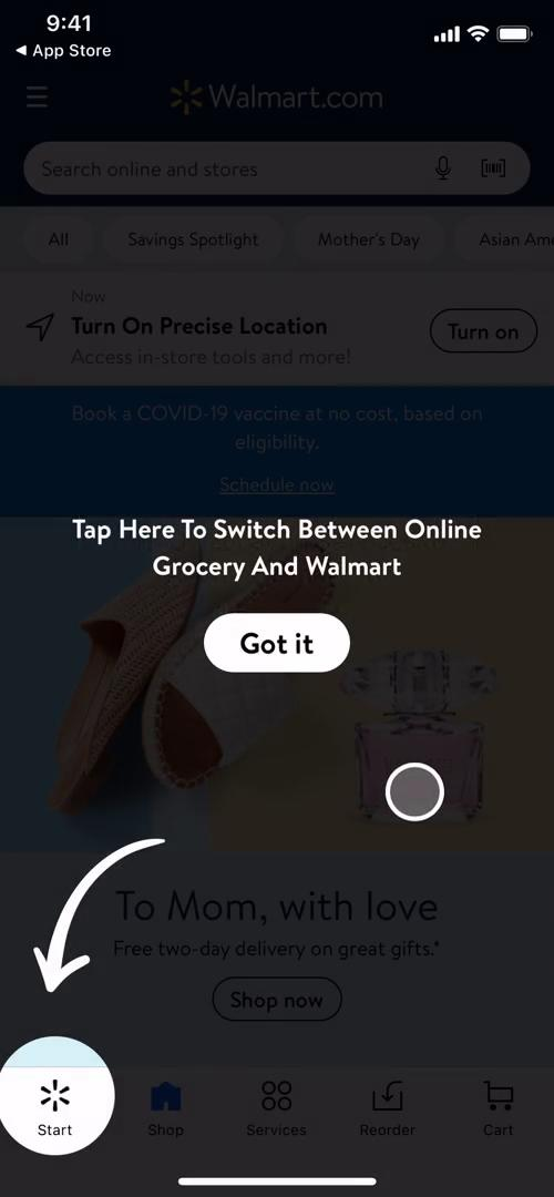 Screenshot of Guide overlay on Onboarding on Walmart user flow