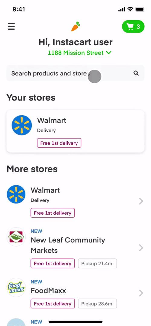 Screenshot of Stores on Inviting people on Instacart user flow
