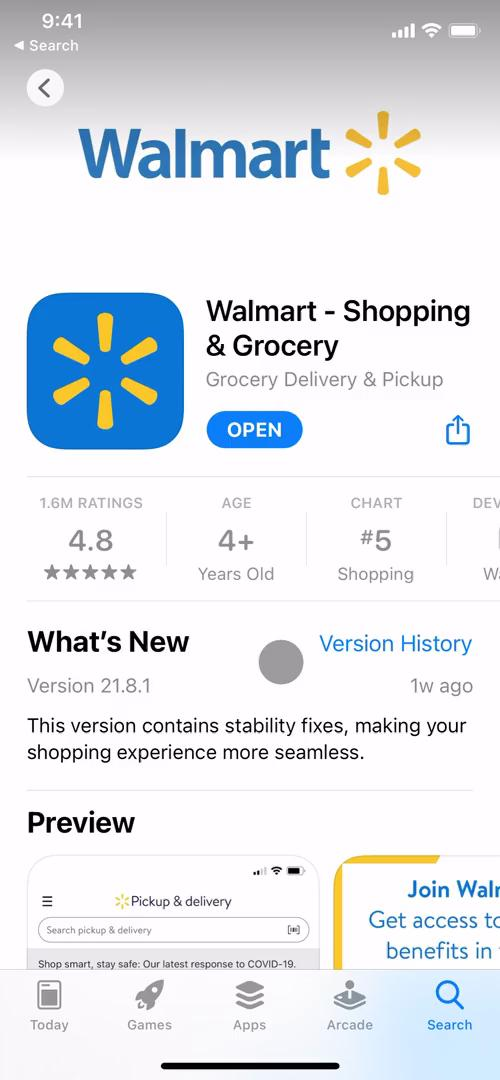 Screenshot of App store listing on Onboarding on Walmart user flow