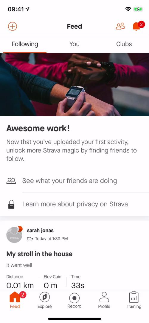 Screenshot of Feed - following during Creating a post on Strava user flow
