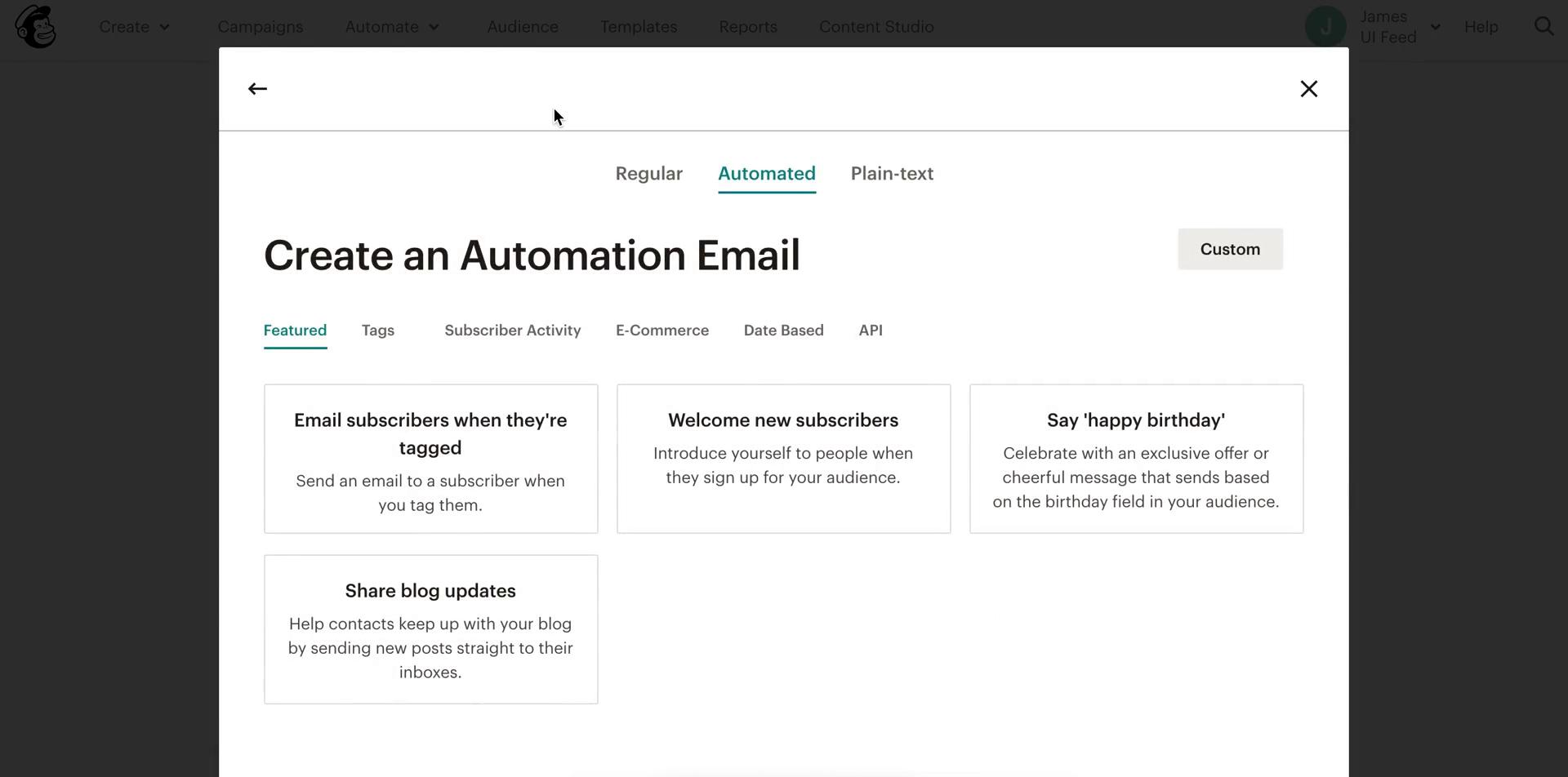Screenshot of Create automation during Creating a drip campaign on Mailchimp user flow