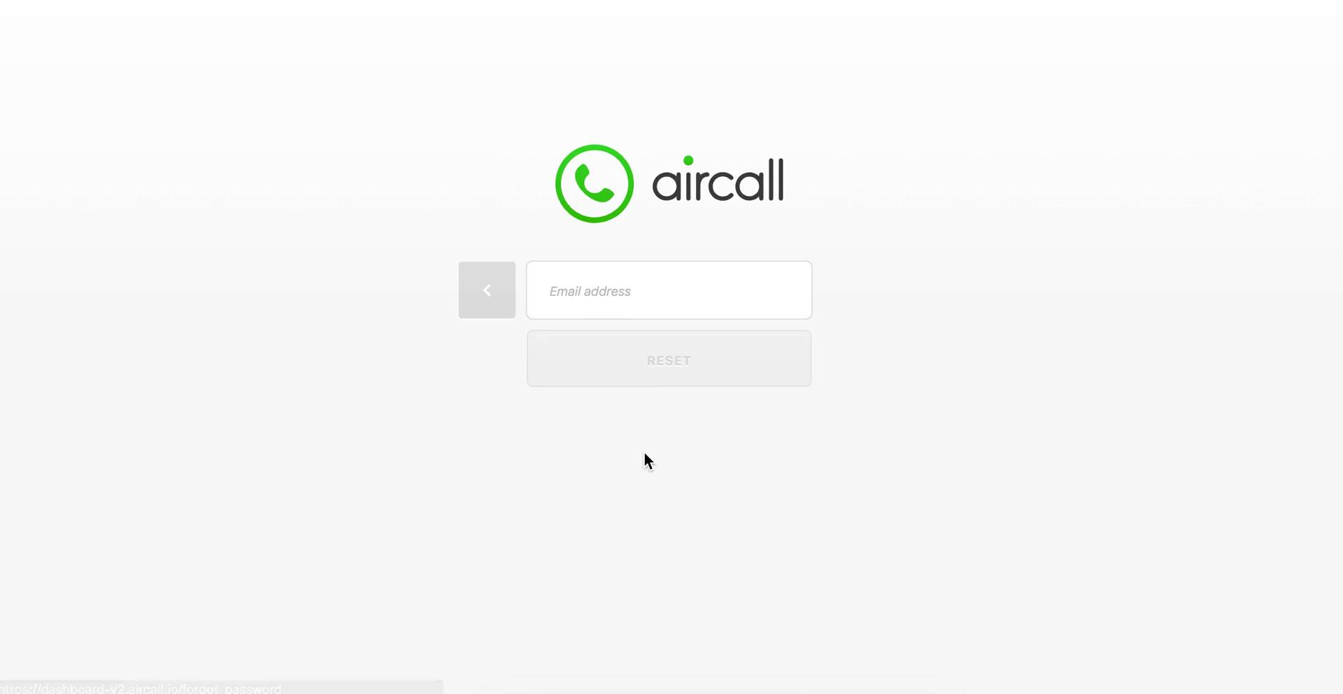 Screenshot of during Password reset on Aircall user flow