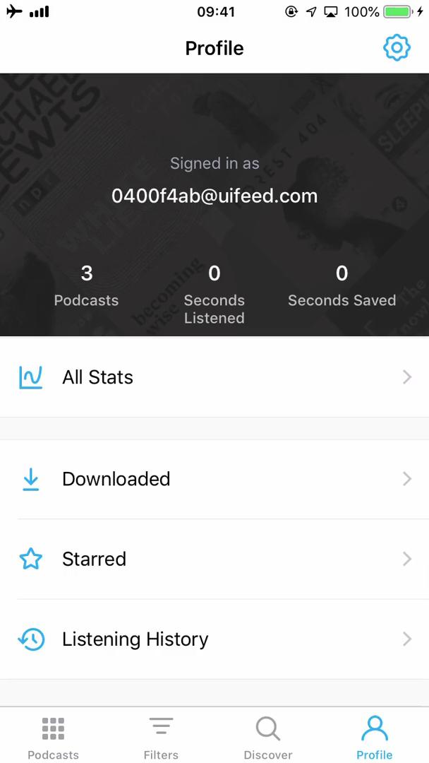 Screenshot of Profile during Importing on Pocket Casts user flow