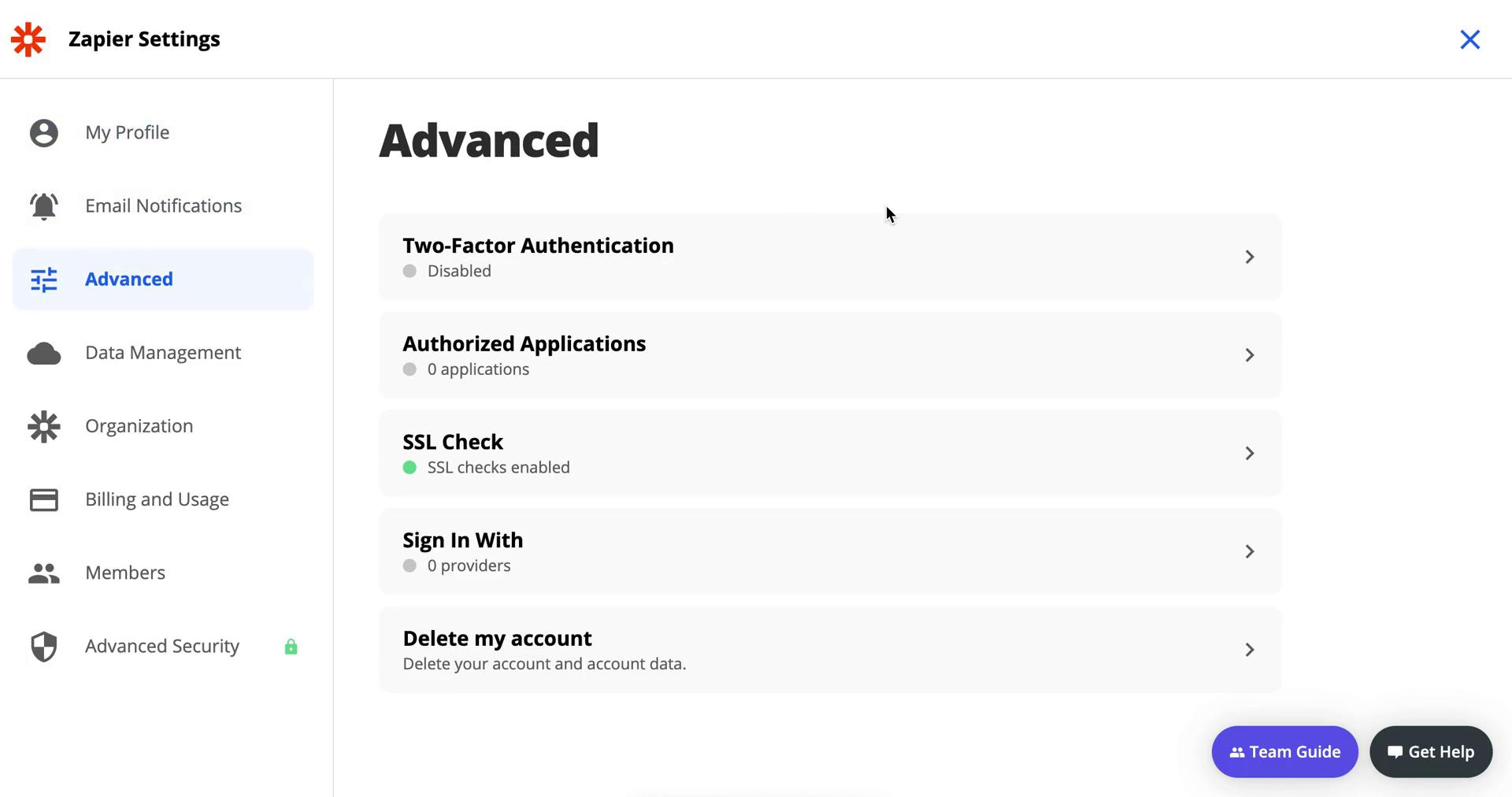 Screenshot of Advanced settings during Deleting your account on Zapier user flow