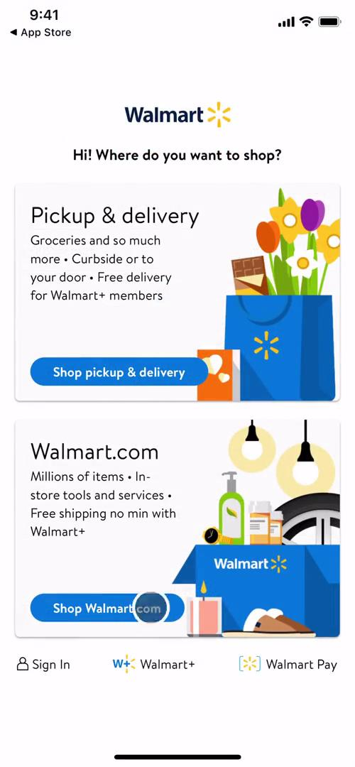 Screenshot of Select shop type on Onboarding on Walmart user flow