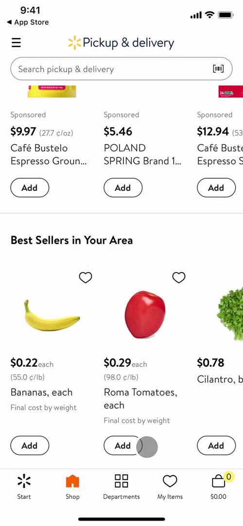 Screenshot of Shop on Onboarding on Walmart user flow