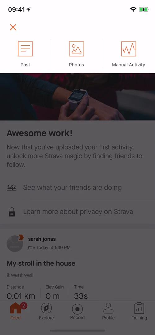 Screenshot of Create post during Creating a post on Strava user flow