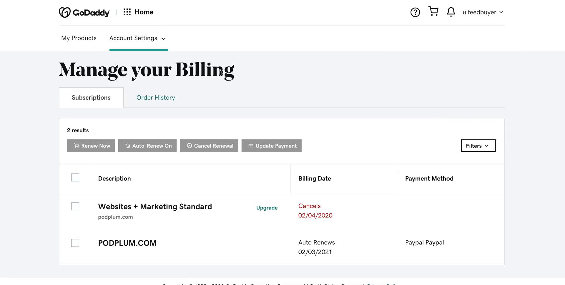 Screenshot of Billing during Cancelling your subscription on GoDaddy user flow