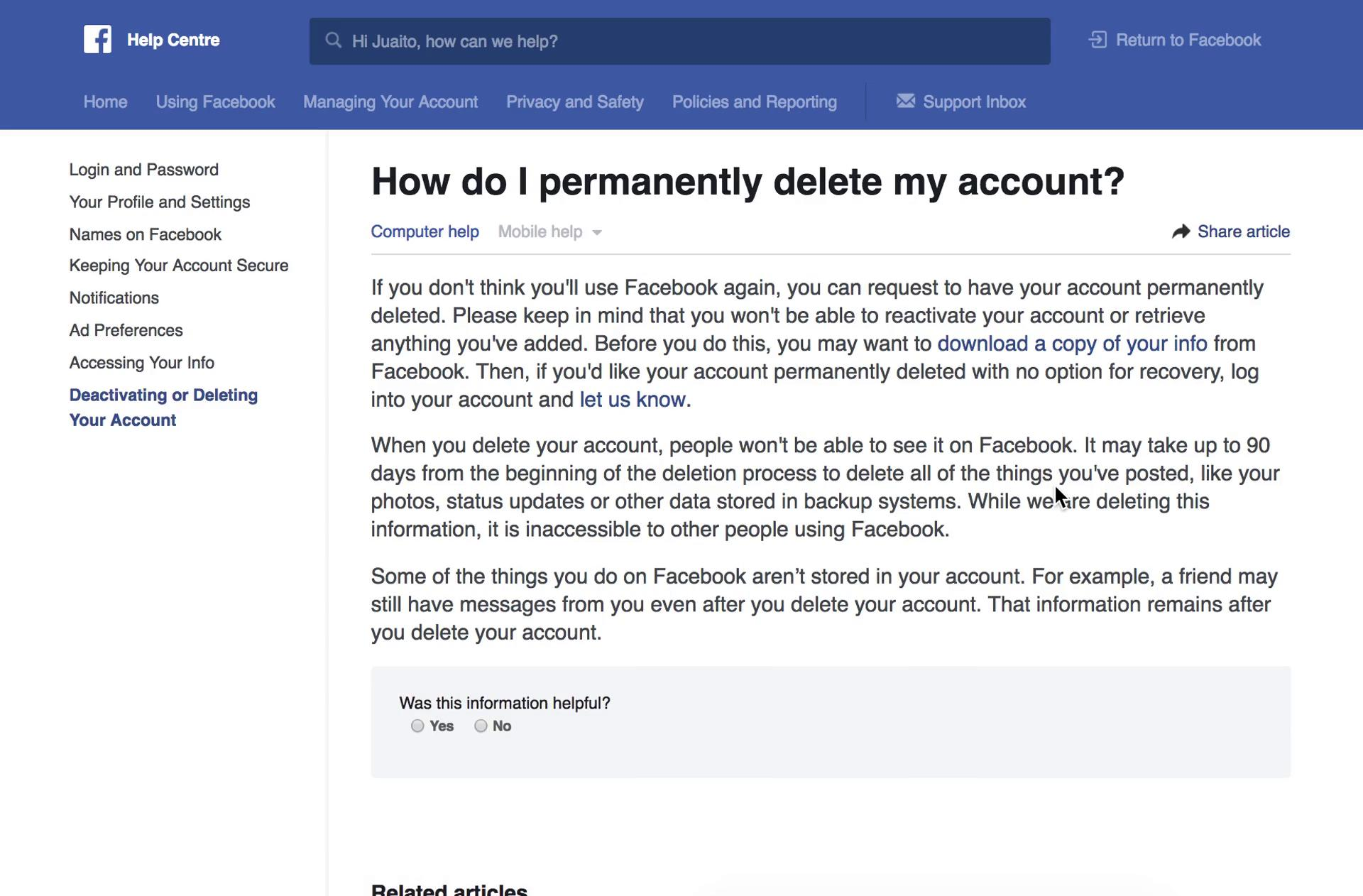 Facebook's account deletion help center page