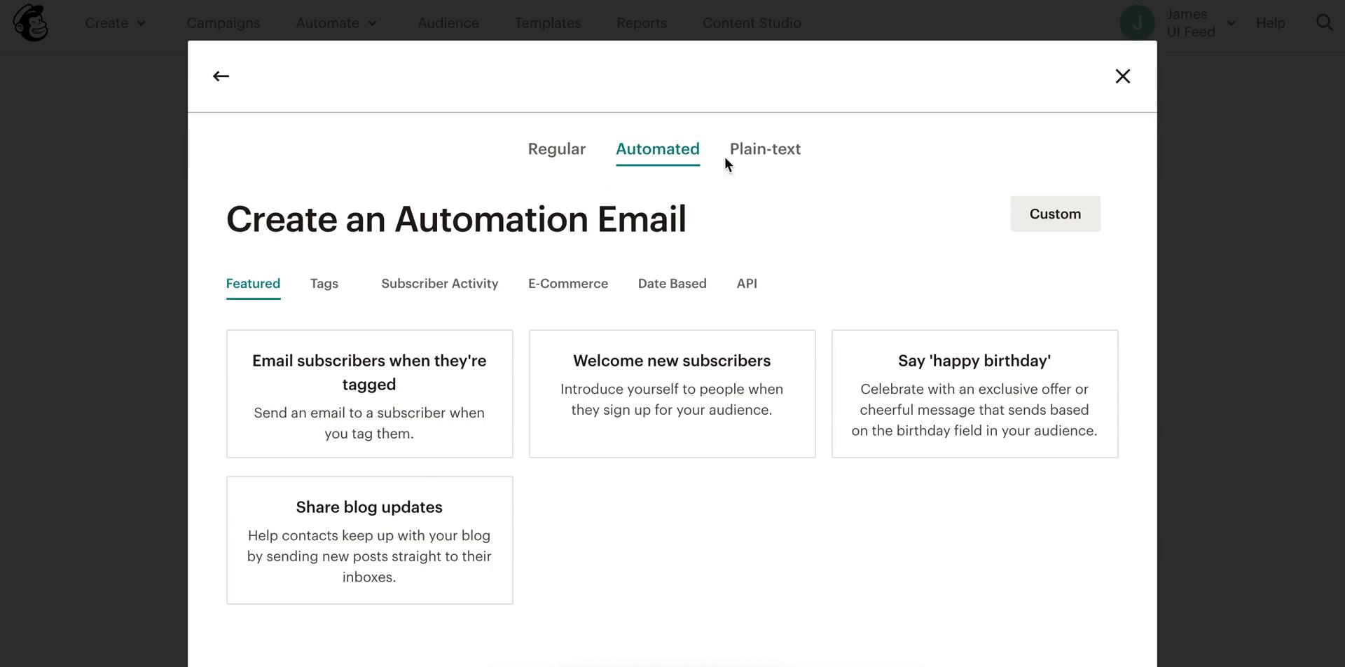 Screenshot of Create automation during General browsing on Mailchimp user flow
