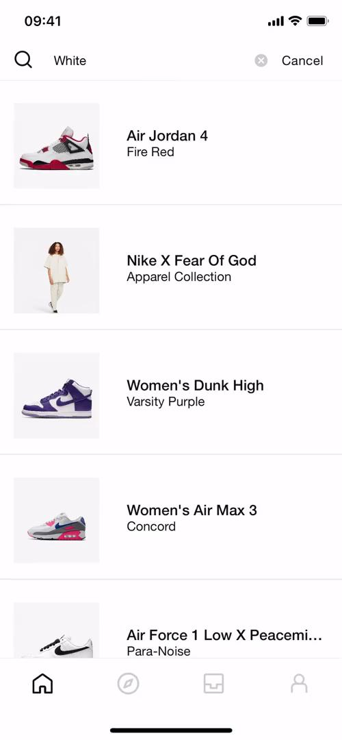 Screenshot of Search results during Searching on SNKRS by Nike user flow