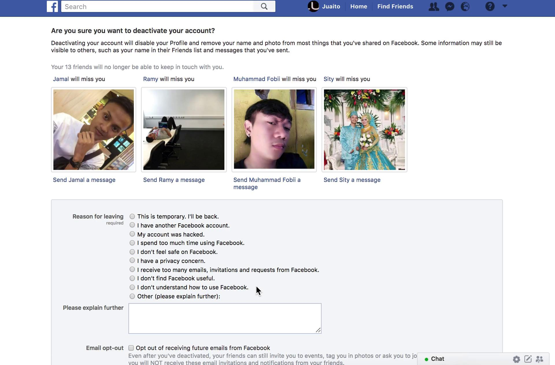 Facebook's account deactivation confirmation page
