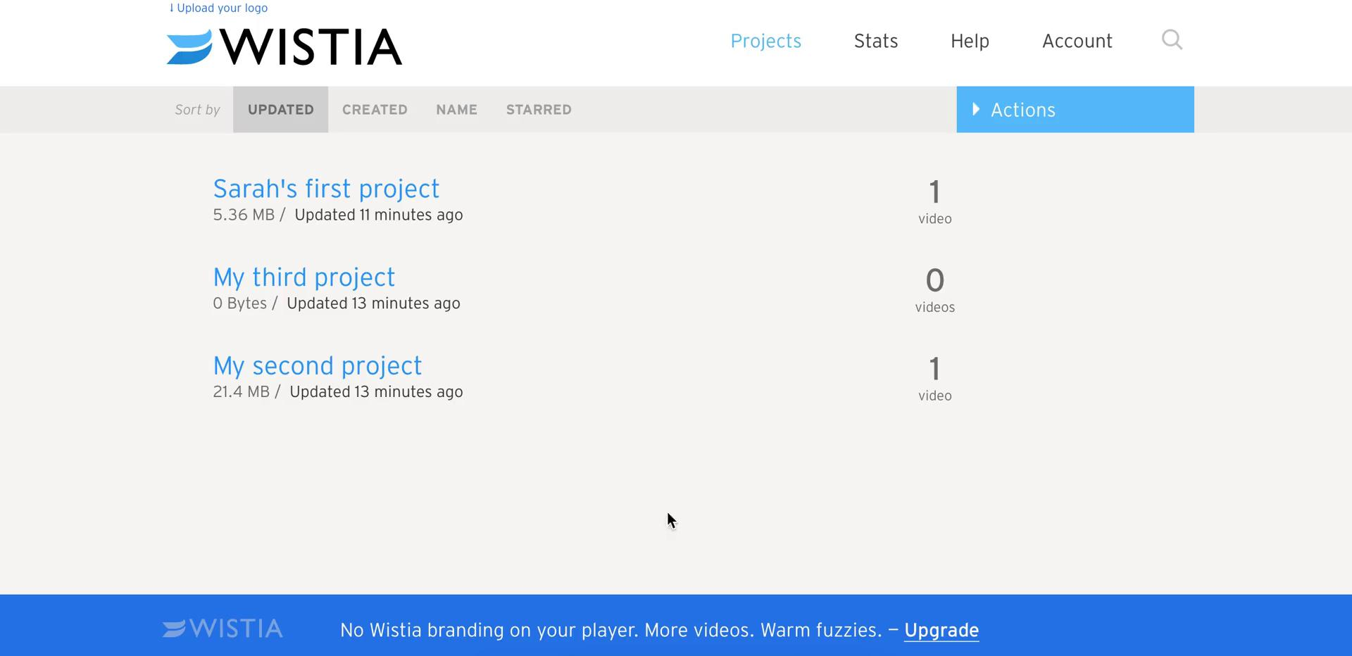 Screenshot of Projects during General browsing on Wistia user flow