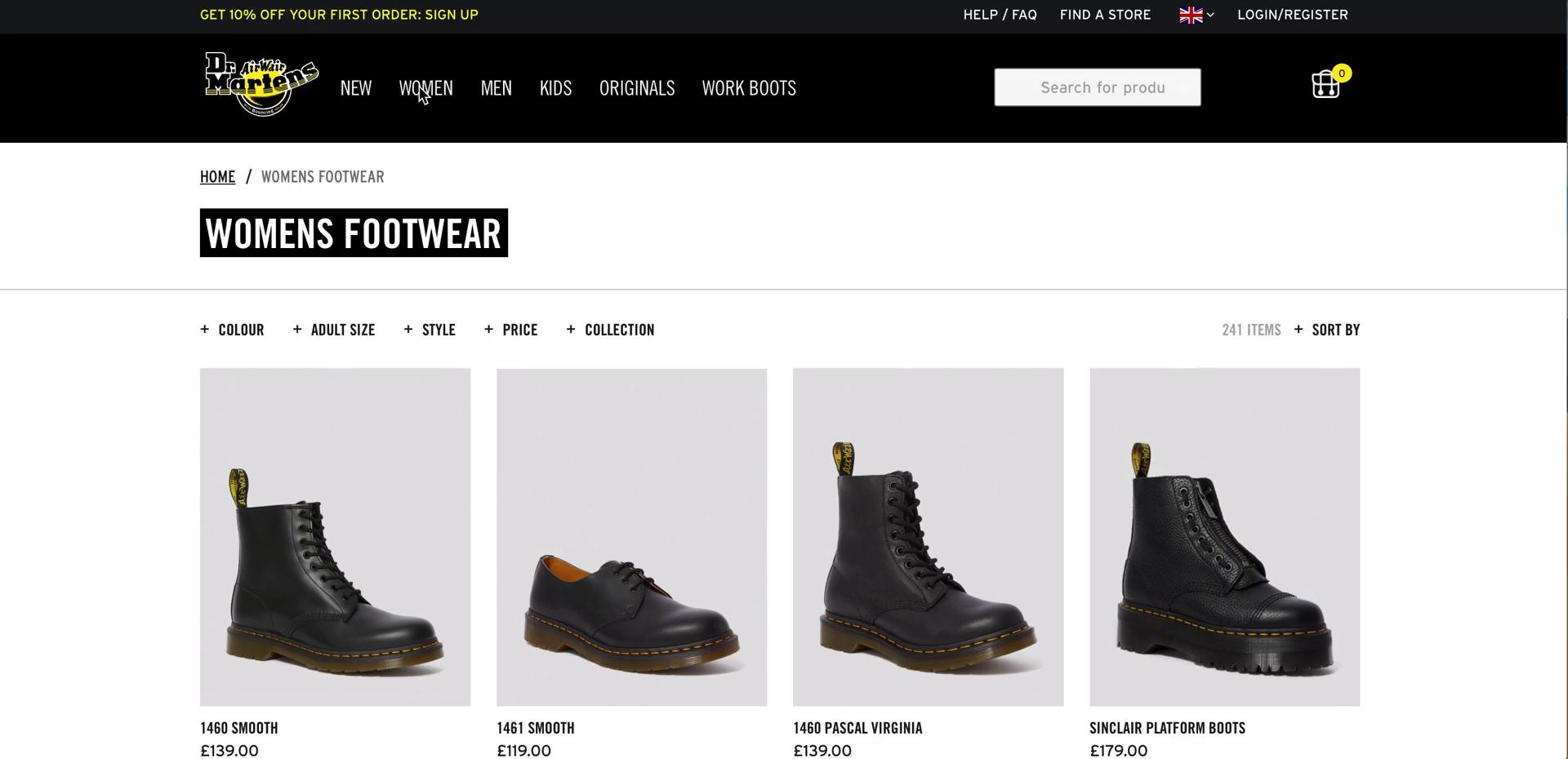Screenshot of Category during Buying something on Dr Martens user flow