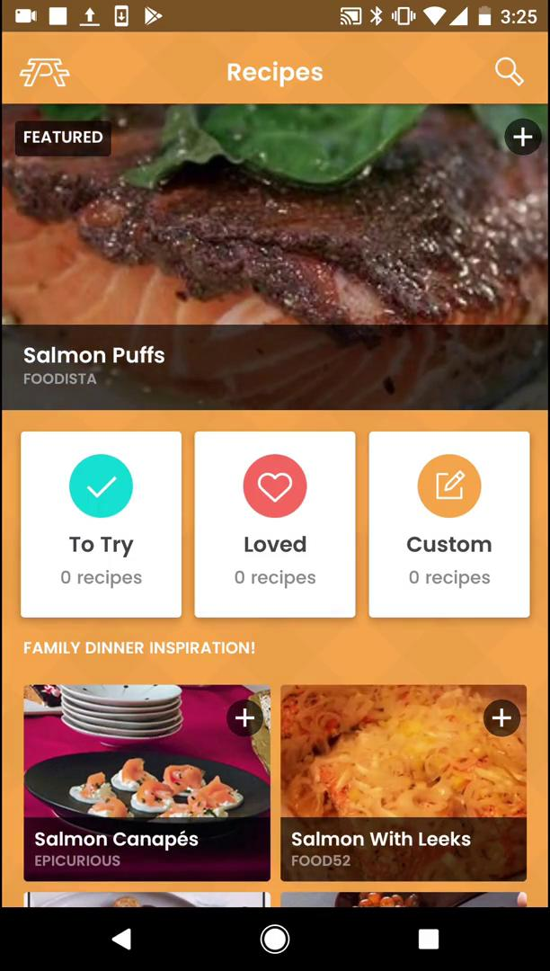 Screenshot of during Finding a recipe on Picniic user flow
