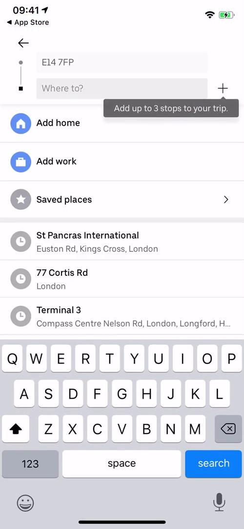 Screenshot of Set destination during Booking transport on Uber user flow