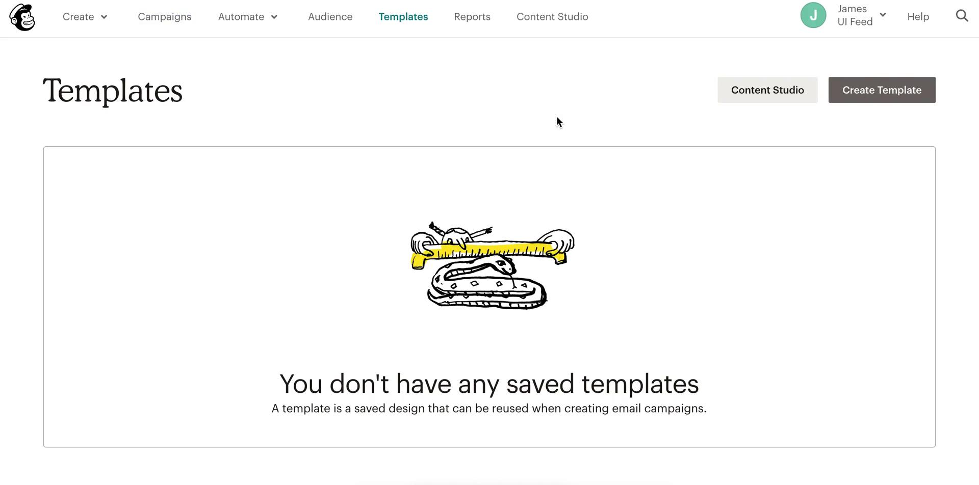 Screenshot of Templates during Creating a template on Mailchimp user flow