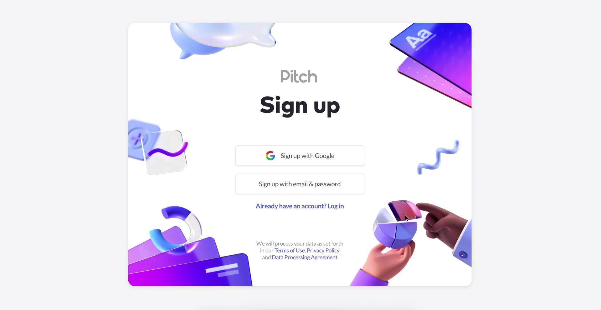 Screenshot of Sign up during Accepting an invite on Pitch user flow